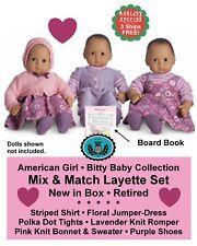 American Girl_BITTY BABY Mix & Match Layette Set + Book_KNITS_Retired_NEW_MIB