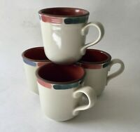 Noritake Stoneware WARM SANDS Coffee Mugs Red Blue Green trim Lot of 4