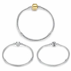 BAMOER Fashion Silver Snake Bracelet Chain For Women European Bead Charm Jewelry