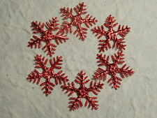 100 x 25mm RED SNOWFLAKES XM4 Scrapbooking Christmas Tree Cards Decorations