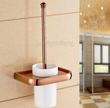 Rose Gold Brass Wall Moun Bathroom Toilet Cleaning Brush and Holder Set Pba869