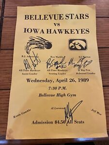 1989 Iowa Hawkeyes Basketball Signed Poster BJ Armstrong Roy Marble