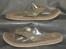 Sanuk Brown fabric slip-ons thong mules sandals flip-flops shoes size USA 14