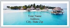 30 Return Address Labels Beach with thatched houses Buy3 get1 free (p 245)
