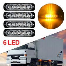 4X Side strobe marker light Car Truck 6LED Amber Flash Emergency Warning Lamp UK
