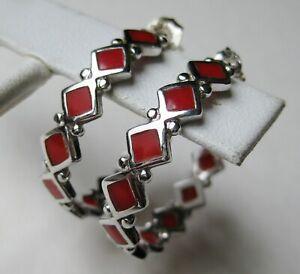 Gorgeous Red Coral Hoop 925 Sterling Silver Earrings