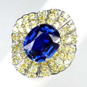 SAPPHIRE AAA KASHMIR BLUE 7.80 CT. 925 STERLING SILVER RING SZ 6.75 ENGAGEMENG