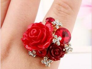 New Fashion Rose Ring Personality Ethnic Style Solid Color Adjustable