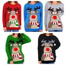 New Womens Ladies RUDOLPH POM POM Christmas Knitted Long Sweater Jumper UK8-14