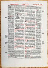 Decorative Post Incunable Leaf Law Gratian Decretum  Large Folio (263) - 1510