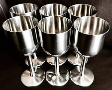 "Six Vintage Collectable English Stainless Steel ""Satinsteel"" 6"" Wine Goblets"
