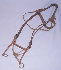 Vintage Large Western Leather Horse Bridle w/ Forged Bit Studs Ranch Repaired