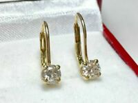 0.70Ct Round Solitaire Diamond Gorgeous Leverback Earrings 14K Yellow Gold GP