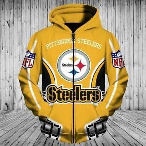 Pittsburgh Steelers Mens Football Hoodie Zip Up Hooded Jacket Jogging Sportswear