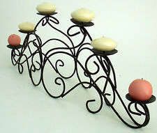 6 PILLAR CANDLE HOLDER IRON FIREPLACE MANTLE TABLE IRON SPACE FOR CENTER PIECE