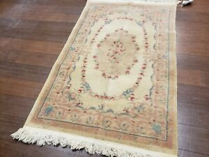 3X5 INDO AUBUSSON AUTHENTIC 100% WOOL ORIENTAL RUG FINE