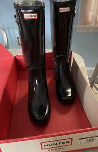 HUNTER ORIGINAL WOMENS REFINED GLOSS CLASSIC BOOTS BLACK WELLIES RAIN SZ 7