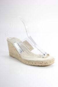 KORS Michael Kors Womens PVC Strap Espadrilles Clear Silver Tone Leather Size 9