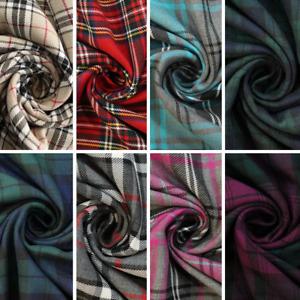 "Soft Poly Viscose Tartan Fabric Check Print 60"" Wide Full Metre Length"