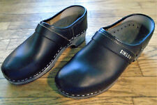 SIMSON CLOGS Shoes STAPLED BLACK Leather Size 7.5 - 8 Euro 39