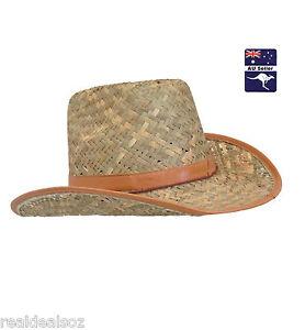Straw Cowboy Hat Bandit Wild West Cattleman Cowgirl Fancy Dress Party Costume