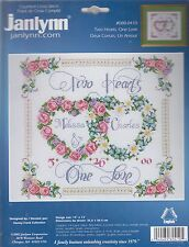 Janlynn Two Hearts, One Love Wedding Record 14 Count Cross Stitch Kit