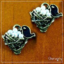 Tiny Bronze Bird's Nest charms ~PACK of 2~ pearl eggs black enamel bird pendant
