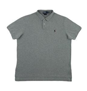 Polo Ralph Lauren Shirt Men's XXL Custom Fit Grey Short Sleeve Golf Button Down