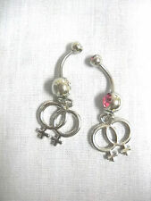 2 LESBIAN PRIDE / GIRL GIRL CHARMS - CLEAR & PINK 14g CZ BELLY RING BELLY BARS