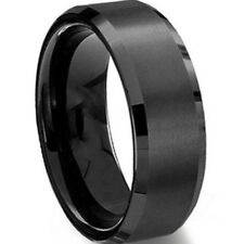 Black Stainless Steel Ring Band Brushed SZ 7 8 9 10 11 12 13 14 15 Wedding Men