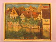 Altes Gemälde Ortsansicht  P  Merker