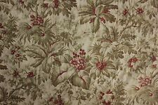 Antique French c 1870 Quilted valance textile bed hanging greens reds faded