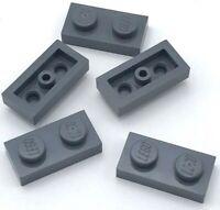 Lego 5 New Dark Bluish Gray Plates 1 x 2 Stud Pieces Parts