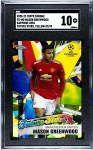 2020 Topps Chrome UEFA Sapphire Mason Greenwood Yellow /99 Future Stars SGC 10