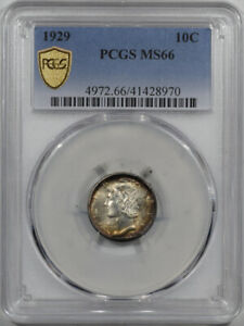 1929 MERCURY DIME - PCGS MS-66, PREMIUM QUALITY! LOOKS MS-67!