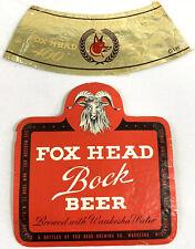 New listing Vintage Fox Head Bock Beer Label Brewing Waukesha Wisconsin 12oz Ram Goat Head