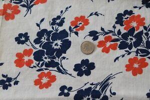 "Genuine Vintage Cotton Navy & Orange Floral Feedsack Fabric~L-21"" X W-38"""
