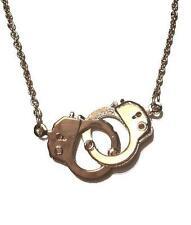 H3 Interlocking Handcuff Police Law Order Exotic NECKLACE Gold Toned Prisoner