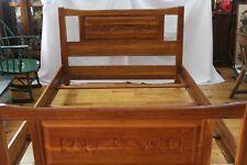 BRANDT Ranch Oak Vintage Carved Bed  Headboard Foot-board Complete Cactus Scene