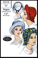Vogue 5216 Designer John Frederics Hat Cap Fabric Sewing Pattern Chemo Alopecia