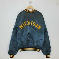 Vintage Michigan Wolverines Spell Out Fleece Lined Satin Jacket Size XL 80s 90s