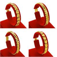 """Women's Watch Chain Heart Bracelet 18K Yellow Gold Filled 7""""Link Wedding Jewelry"""