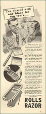 1940 vintage shaving AD ROLLS RAZOR Sheffield Steel Blades Strop in case  092017