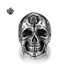 Silver bikies ring stainless steel cracked skull band punk soft gothic US 13