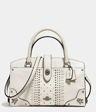 Coach Bandana Rivets Mercer 24 White Grain Leather Satchel Convertible Bag 55634