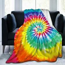 Yishow Colorful Tie Dye Fleece Throw Blanket Cozy Sherpa Plush Blankets for B.