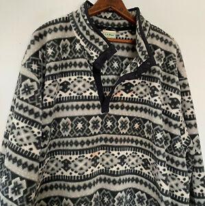 Vintage 90s LL Bean Fleece Pullover Jacket XXL 2X Gray T Snap Nordic Aztec Print