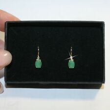 2 Carat Oval Emerald Leverback Dangle Drop Earrings 14k Yellow Gold over 925 SS