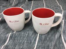 "Rae Dunn ""Mr Claus And Mrs Claus"" Red Interior Christmas Mug Set Cups RARE"