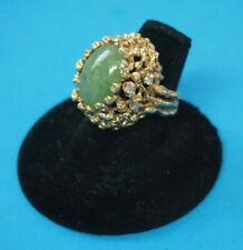15.8 GRAMS Unique 14kt  6 Diamond And AVENTURINE Ring Size 6